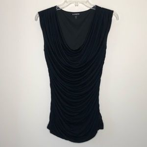 Express | Ruched Scoop Neck Black Blouse Jersey